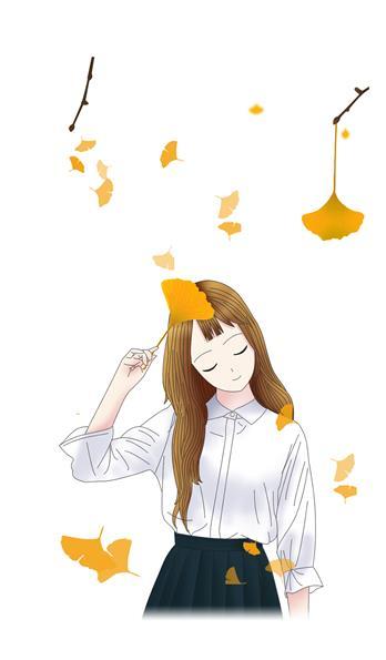 银杏叶主题手绘动漫女孩手机壳