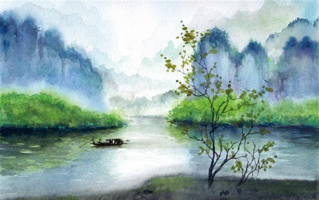 水彩诗意风景